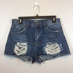 Forever 21 Distressed Ripped Blue Denim Shorts